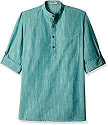 Fabindia Men's Mid-Thigh Cotton Kurta  (10423641_42_Blue and Grey)