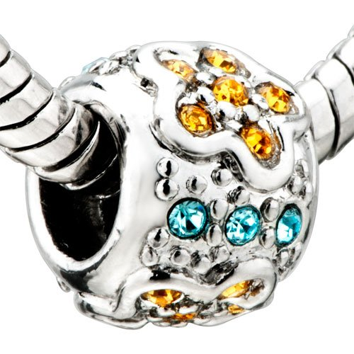 Pugster Jewelry November Birthstone Flowers Pattern Beads - Pandora Charm & Bracelet Compatible