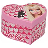 Barbie Poddle In Heart Shaped Box Musical Jewellery Box In Pink