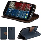Moto X Case, GMYLE Wallet Case Classic for Motorola Moto X - Navy Blue & Brown PU Leather Slim Magnetic Flip Stand Cover