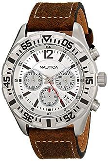 buy Nautica Men'S N17668G Nst 402 Analog Display Quartz Brown Watch