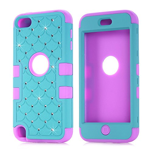 Lantier For iPod Touch 5 Generation Case,Cool [Diamond design]Durable Hybrid 3in1 3-Piece PC+Silicone Design Bumper Slim Hard Back Case Cover Compatible with Apple iPod Touch 5[Cleaning Cloth] Dual Layer Lattice Total Defense Bling Rhinestone Diamond Full Cover Case Suitable fit for iPod Touch 5 5th Generation with Screen Protector and Stylus Pen Stars Blue/Purple (Ipod Cases 5 3in1 compare prices)