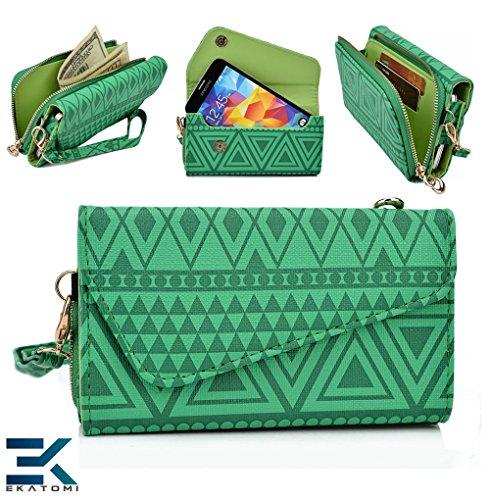 [ Tribal Urban ] |Green | Universal Clutch Women'S Wallet Wristlet Lg Optimus 3D Max P720 Phone Case. Bonus Ekatomi Screen Cleaner front-1027360