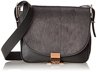 Ted Baker Large Zip Leather Cross Body Bag,Grey,One Size
