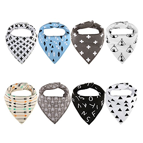 Vicsou Baby Bandana Drool Bibs for Drooling and Teething, Soft Organic Absorbent Cotton, 8-Pack