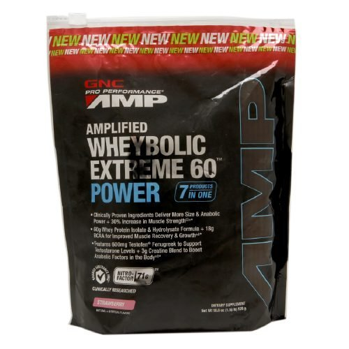 GNC Pro Performance AMP Amplified Wheybolic Extreme 60 Power, Strawberry 18.6 oz (528 g) (Wheybolic Extreme 60 Power compare prices)