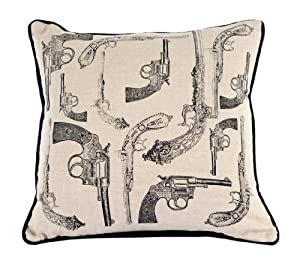 Room Service Natural & Neutral Collection Antique Pistols Pillow, 18-inch x 18-inch, Oatmeal Linen/Black