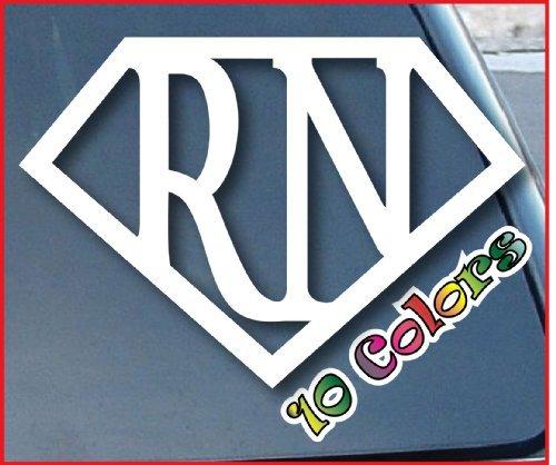 Super-RN-Nurse-Car-Window-Vinyl-Decal-Sticker-4-Wide-Color-White