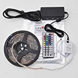 LEDwholesalers IP66 Waterproof 16.4 Ft RGB Color Changing Kit with LED Flexible Strip 44-Button Controller and Power Supply, 2038RGB+3315+3215