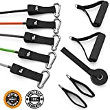 King Athletic Resistance Band Kit Bundle with Door Anchor, Foam Handles & Leg Workout Straps