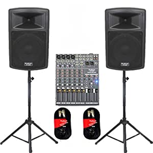 "Podium Pro 1 Pair New Karaoke PA Band 10"" Pro Audio Powered Active Speakers, Mixer, Stands and Cables DJ Set PP1003ASET2"