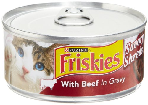 Friskies Cat Food Savory Shreds with Beef in Gravy, 5.5-Ounce Cans (Pack of 24)