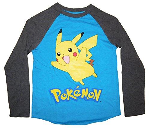 Pokemon Pikachu Boys' Raglan Long Sleeve Graphic Shirt Small