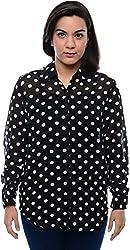 CHLOE Women's Regular Fit Shirt (CH-AM-11357P13-L, Black, L)