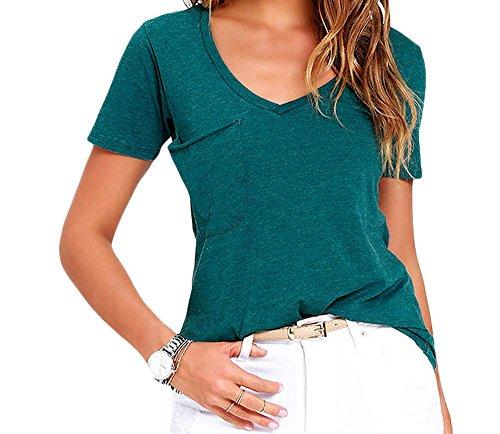 TomYorkSummer Basic Pocket T-shirt(ArmyGreen ,XL)