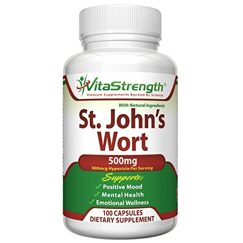 Premium St. John's Wort - 500mg x 100 Capsules - Saint Johns Wort Extract for Mood Support - Promotes Mental Health & Eases Symptoms of Anxiety & Depression