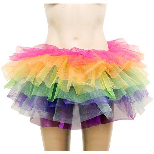 Rainbow Neon Rara Rave Party Ballet Dance Ruffle Tiered Tutu Skirt Clubwear (Rainbow 7 Layered)
