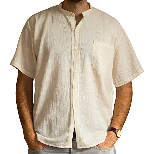 Cotton summer fair trade shirt, short sleeves - from Ecuador made for Tumi - light weight cool material. Beige - XXL.