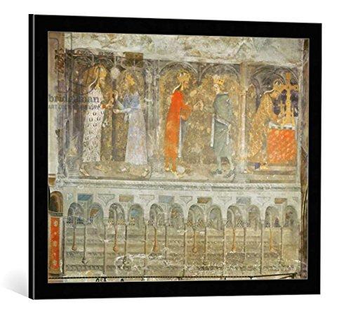 """Quadro con cornice: Nikolaus Wurmser """"The Holy Roman Emperor Charles IV (1316-78) receiving a thorn from the crown of Christ from Jean II (1319-64) Le Bon, from the c"""" - stampa artistica decorativa, cornice di alta qualità, 70x55 cm, nero / angolo grigio"""