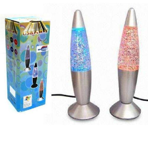New Fashion DEsign USB/AC Multi Color Changing Lava Lamp LED Glitter Light
