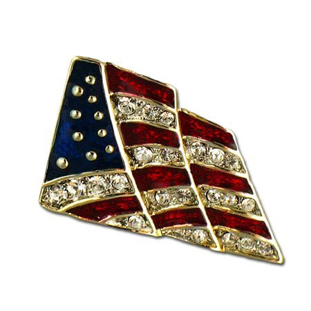 Crystal Flag Lapel Pin