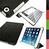 IGadgitz Black PU Leather with Hard Back 'Cover Mate Plus' Case for Apple iPad Mini 1st Generation 2012 & New iPad Mini 2nd Generation with Retina Display (launched October 2013) 16GB 32GB 64GB 128GB Wi-Fi & Cellular. With Sleep/Wake Function + Screen Pr