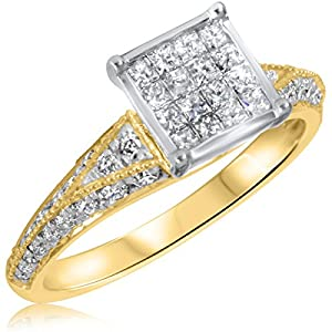 7/8 CT. T.W. Diamond Ladies Engagement Ring 10K Yellow Gold- Size 5.75