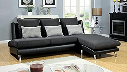 2 pc Sailla collection contemporary style brown two tone dark grey fabric and black leatherette upholstered armless style sectional sofa