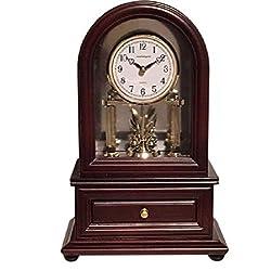 Desk Clocks: Vmarketingsite Wood Desk Clock with Revolving Pendulum. Decorative Small Desk Mantel Clock Battery Operated. Wood Desk Clock Revolving Pendulum Is Silent With A Round Dial Face.