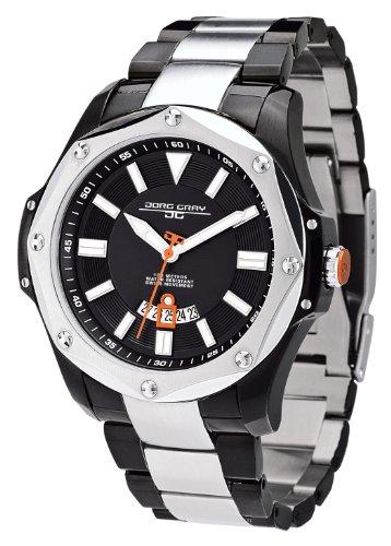 Jorg Gray JG9100-24 - Reloj analógico de cuarzo para hombre, correa de acero inoxidable color negro