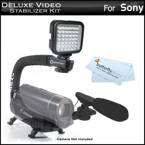 Deluxe Led Video Light Plus Mini Zoom Shotgun Microphone W/Mount Plus Video Stabilizer Kit For Sony Hdr-Cx580V, Hdr-Pj580V, Hdr-Pj260V, Hdr-Cx260V, Hdr-Pj710V, Hdr-Pj760V, Hdr-Cx760V, Hdr-Xr260V Hdr-Td20V Includes Stabilizing Handle Plus Microphone Plus L