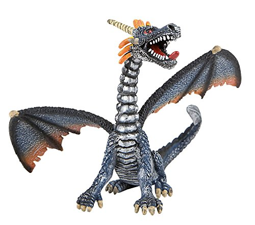 Bullyland Fantasy: Sitting Blue/Silver Dragon - 1