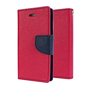 SCHOFIC Premium Fancy Wallet Diary Faux Leather Mobile Flip Case Cover [Pouch] with Card Slots [POCKETS] , Stand View and Magnetic Strap [LOCKING] for Samsung GALAXY ON7 Pro -Pink