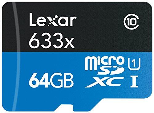 Lexar LSDMI64GBBEU633A - Tarjeta MicroSDHC con adaptador SD (lectura de 633x) de 64 GB
