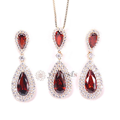 Crystal Jewelry 18K Rose Gold Plated Red Austrian Crystal Relogios Feno Fashions Jewelry Sets Tear Drop Dangle EarringsNecklace Set S414R34 18k charms for necklaces for women