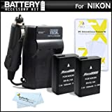 2 Pack Battery And Charger Kit For Nikon D5300, D3300, D5200, D5100, D3100, D3200, Nikon Df, P7700 Digital SLR Camera Includes 2 Extended (1500Mah) Replacement For Nikon EN-EL14a, EN-EL14 Batteries (Fully Decoded!) + Ac/Dc Rapid Charger + More