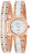 Armitron Women's 75/5056WTRGST Rose Gold-Tone, White Ceramic, and Swarovski Crystal Watch and…