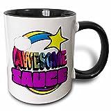 3dRose mug_201396_4 Shooting Star Rainbow Awesome Sauce Two Tone Black Mug - 11 oz - Black White