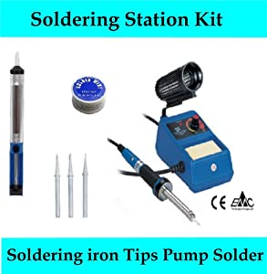 SOLDERING IRON KIT STATION COMES WITH SOLDERING IRON DESOLDERING PUMP / 1 x ROLL OF LEAD FREE SOLDER 3 SPARE TIPS/BITS