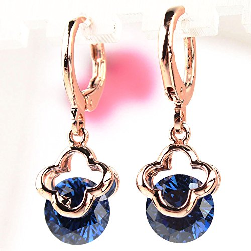 Julycoffee Hot Women 14K Gold Filled Flower Blue Sapphire Dangle Earrings Jewelry Cb1132