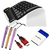 IKross Black Bluetooth Wireless Foldable Silicone Keyboard + Mini Brush + 15FT Gold Plated HDMI Male Cable + 3x Stylus for Acer Aspire Switch 10, ICONIA ONE 7, ICONIA A3-A10, W4-820, W3-810, A1-810, W510, W700, A110, A700, A510, A100, A500