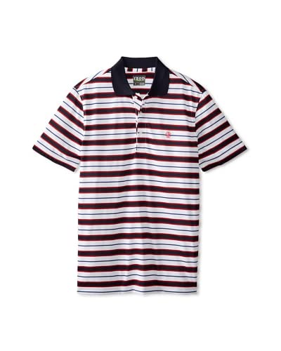 IZOD Men's Short Sleeve Feeder Multi Stripe Golf Polo