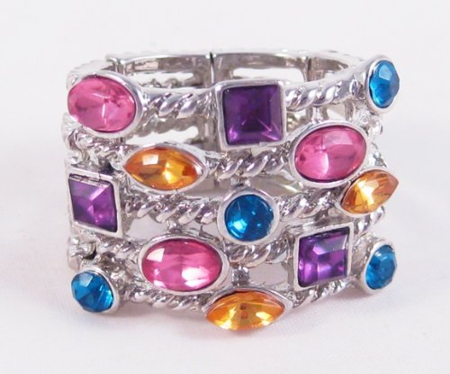 Silver Tone Stretch Ring with an Assortment of Beautiful Stones