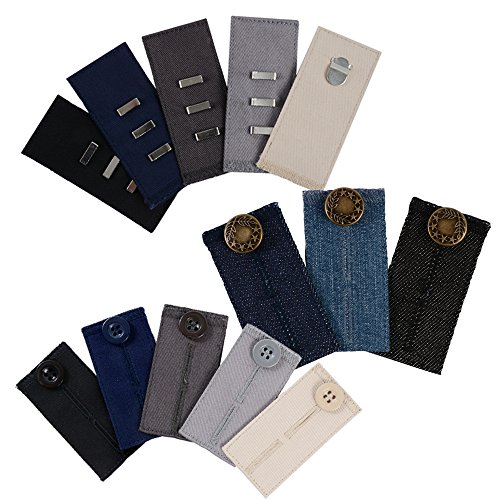 For Sale! Comfy Pants Bundle - 13 Pant Waist Extenders (3 Types) for Dress Pants, Khakis and Jeans