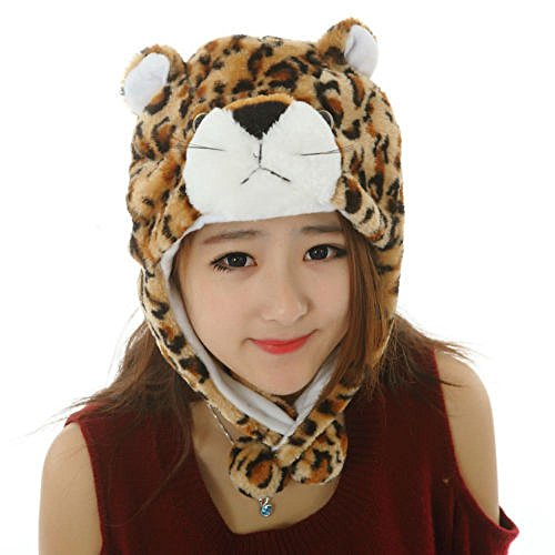 Leopard_Pom-Pom Winter Animal Hat Fashion Cap Animal Plush Fluffy Warm 100% Polyester (US Seller)