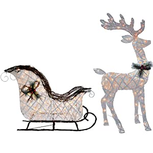 lighted 52 reindeer buck deer 40 santa sleigh ride clear li. Black Bedroom Furniture Sets. Home Design Ideas