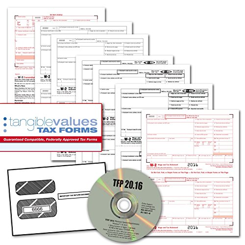 Tangible Values W-2 Laser Forms (6-Part) Kit with Envelopes plus TFP SOFTWARE for 50 Employees (2016) (1099 Forms And Software compare prices)