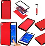 Magic Global Gadgets - Red Front and Back Full Body Protector Hard Armour Hybrid Shock Proof Case Cover For Sony Xperia Z3 (D6603 / D6643 / D6653 / D6616 / D6633) With Built In Screen Protector - Full Dual Layer All Around Protection Cover + Mini Capacit