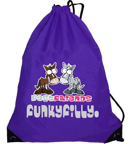 Funky Filly Girls Pony Best Friends Drawstring Bag Size 45 x 34 cms