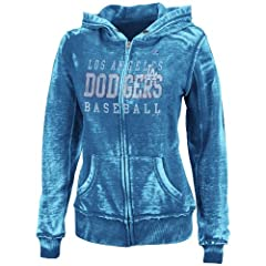 MLB Los Angeles Dodgers Washed Deep Royal Heather Long Sleeve Full Zip Hood Bunout... by Majestic